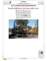 Autobus della Roma Tpl a fuoco sulla cassia