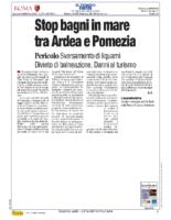 Stop bagni in mare tra Ardea e Pomezia